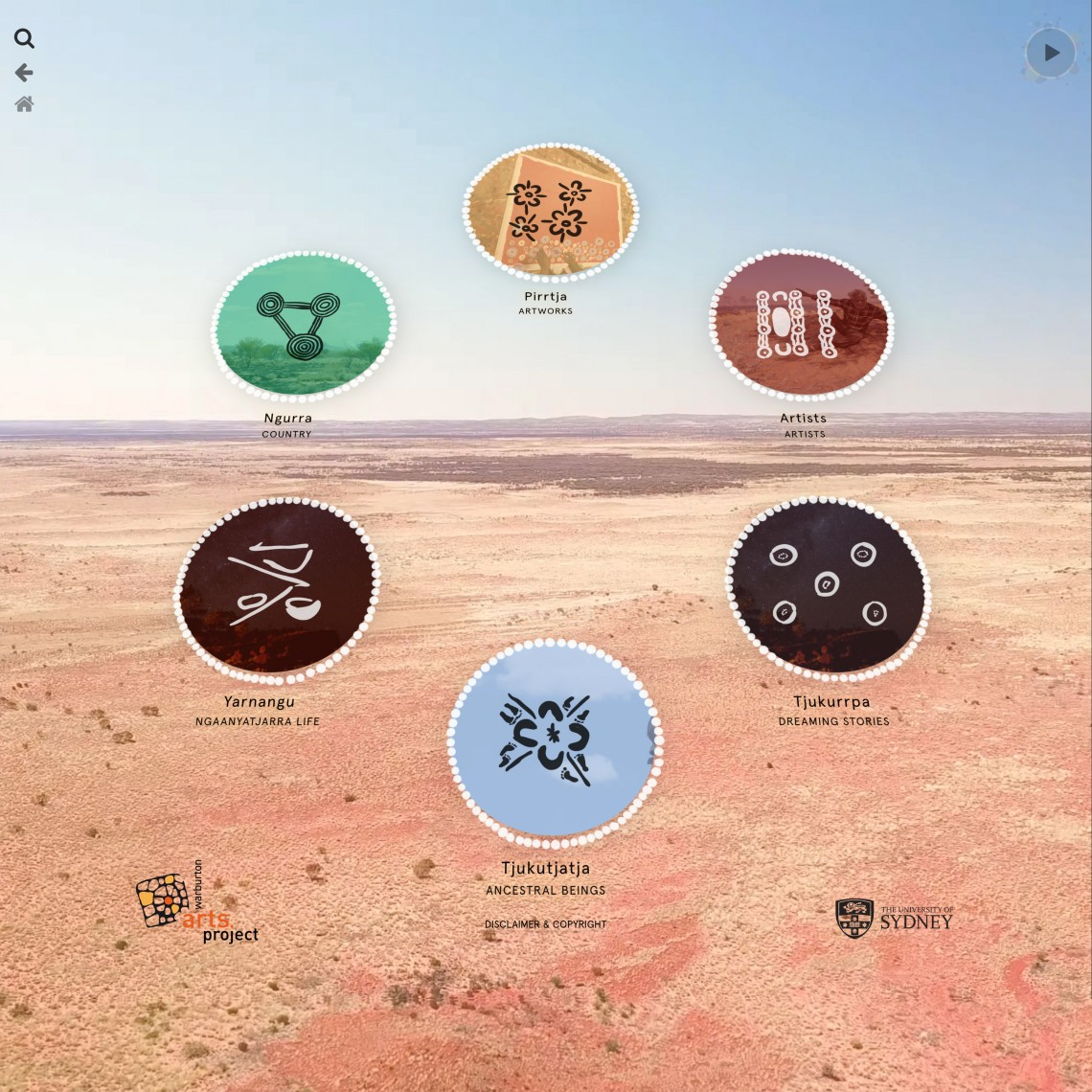 Landing page showing icons and an aerial landscape towards Warburton